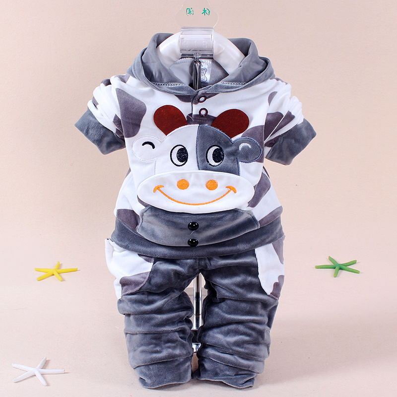 Kids Boys Clothes Girls Sets Long Sleeve Velvet Cartoon Cow Autumn Winter 2017 Casual Children Clothing Hooded Baby Boy Clothes  autumn winter baby girls boys kids infants cartoon children thermal velvet jackets cardigan sweaters pants clothing sets s3901