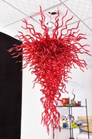 Modern Wedding Decoration Red Glass Chihuly Style Chandelier Energy Saving 100 Hand Blown Large Long Chandelier