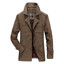 Loldeal Mens Coat Fashion cotton Casual Winter Warm Jacket Slim Long Trench Buttons Pocket Overcoat