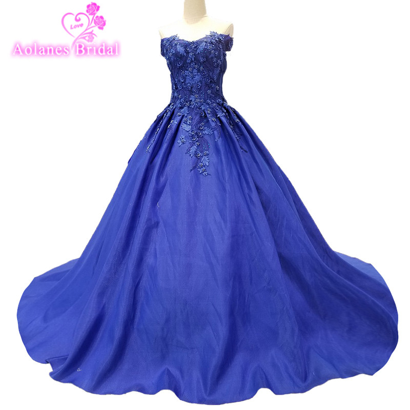 AOLANES 2018 Blue Satin Strapless   Evening     Dresses   Court Train Sleeveless Party Gowns   Dresses   Floor-length Vestido De Festa