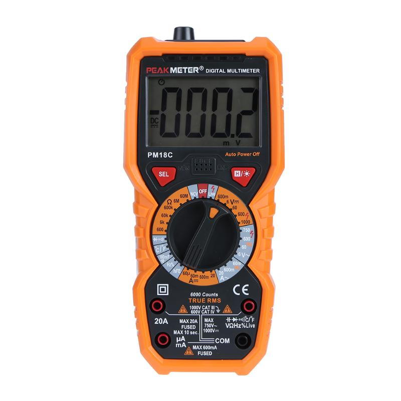 PM18C Digital Multimeter with True RMS AC/DC Voltage Resistance Capacitance Frequency Temperature Meter Tester uxcell digital multimeter ac voltage current resistance capacitance frequency temperature tester meter 600mv 6v 60v 600v 1000v