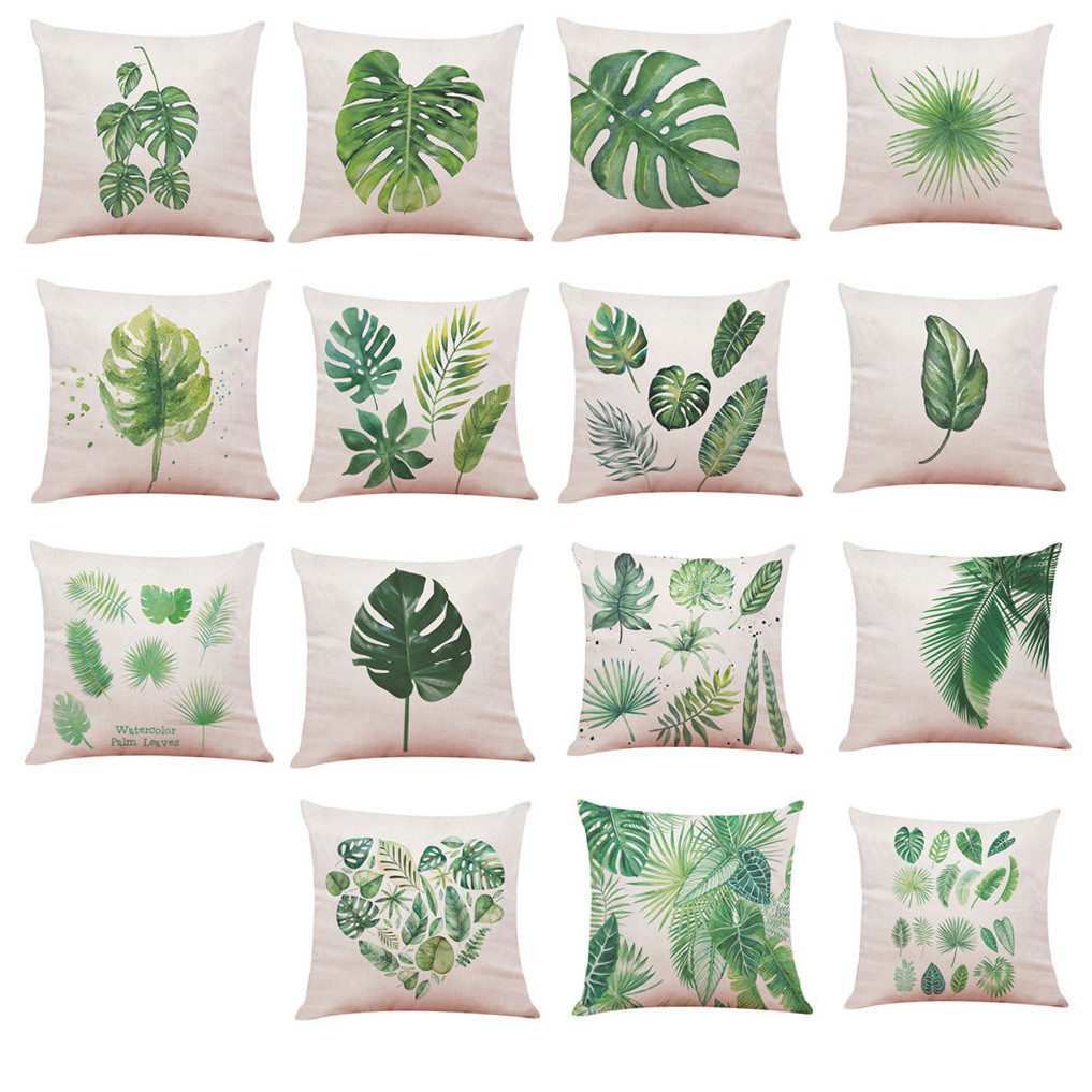 Big Leaf Tropical Plants Linen Throw Pillow Case Decorative Pillows For Sofa Seat Cushio ...