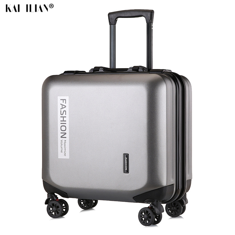 18 Inch Suitcase On Wheels Cabin Travel Luggage PC Carry-ons Trolley Bag Fashion Women Rolling Luggage Men's Hardside Suitcase