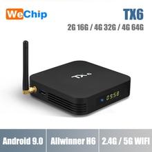 ТВ-бокс Wechip TX6 4G 32G Smart Allwinner H6 Android 7,0 tv Box H.265 4 K x 2 K 2,4G + 5G WIFI мини-ПК телеприставка BT медиаплеер