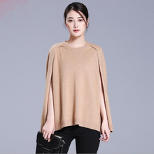 Women's 2017 fashion pullover sweater open side seam o-neck sleeveless loose cashmere pullovers
