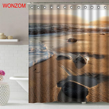 WONZOM Sunrise Beach Waterproof Shower Curtain Bathroom Decor Coconut Tree Decoration Scenery Cortina De Bano 2017 Bath Curtain