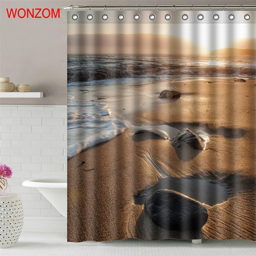 WONZOM Sunrise Beach Waterproof Shower Curtain Bathroom Decor Coconut Tree Decoration Scenery Cortina De Bano 2017 Bath Curtain