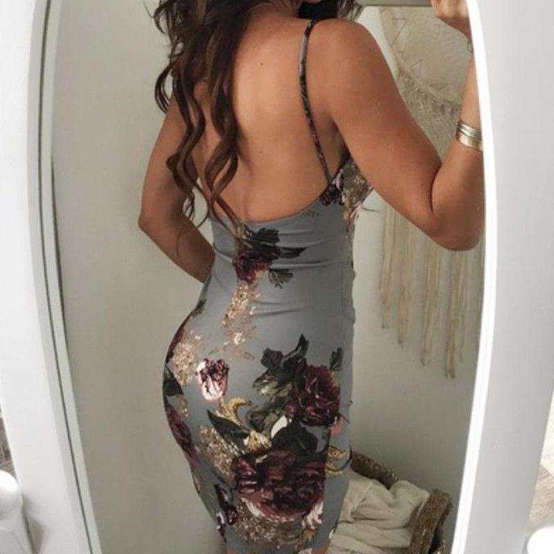 HTB1v.qWtgmTBuNjy1Xbq6yMrVXaA - Fashion Sexy Summer Evening Party Women Ladies Sleeveless V-Neck Ruched Floral Print High Waist Skinny Mini Dress 2 Colors