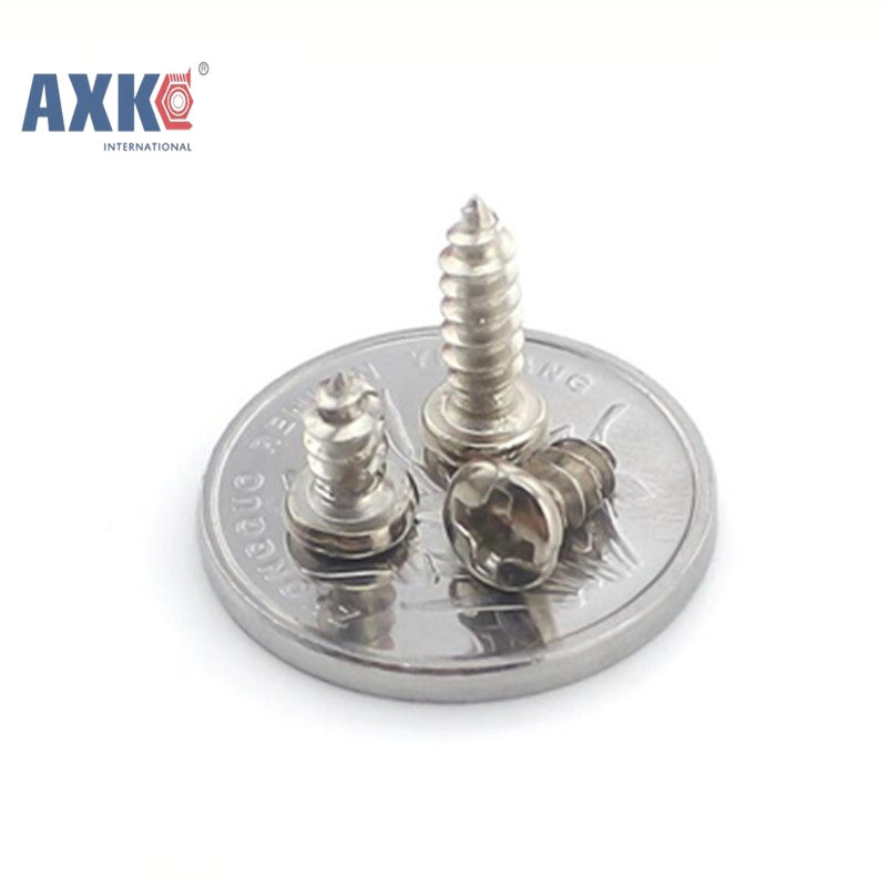 <font><b>1000Pcs</b></font> M1.4 M1.7 M2 <font><b>M3</b></font> PA Nickel-plated Phillips Head Micro Screws Pan Head Self-tapping Electronic Small Screws AXK 02 image