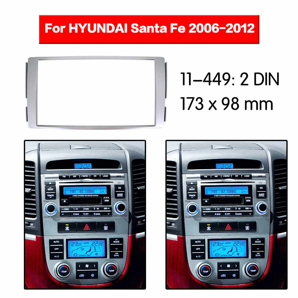 Auto Radio Fascia Frame Kit Voor HYUNDAI Santa Fe 2006-2012 Radio Stereo Audio Bezel Facia Panel Trim Dash dubbel Din Mount Kit