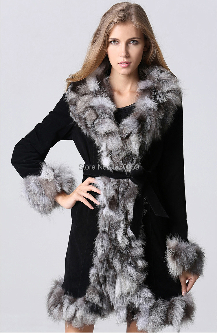 2016 New Fashion Women Long Fox Fur Coat Pig Leather And Fox Fur ...