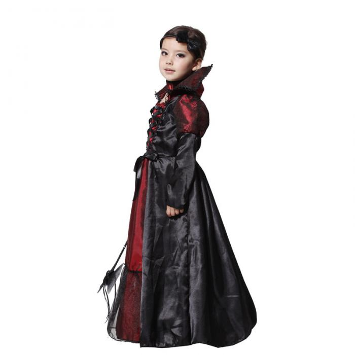 Halloween Dress Black Lace Queen Vampire Costume Kids Carnival Masquerade Party Fancy Costumes Girls's Dress 3