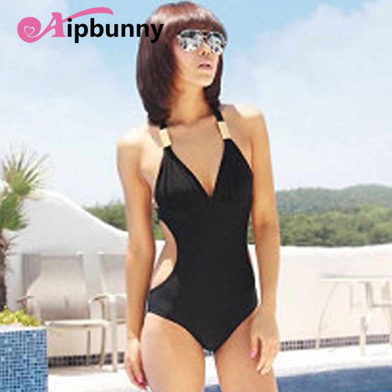 Aipbunny <font><b>Black</b></font> Halter <font><b>Sexy</b></font> Slim <font><b>One</b></font> <font><b>Piece</b></font> <font><b>Swimsuit</b></font> maillot de bain femme Trikini Bikini <font><b>2018</b></font> Bathing Suit <font><b>Swimwear</b></font> <font><b>Women</b></font> Biquini image