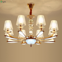 Modern Lustre Crystal Led Chandeliers Luminaria Gold Zinc Alloy Glass Dining Room Led Pendant Chandelier Lighting