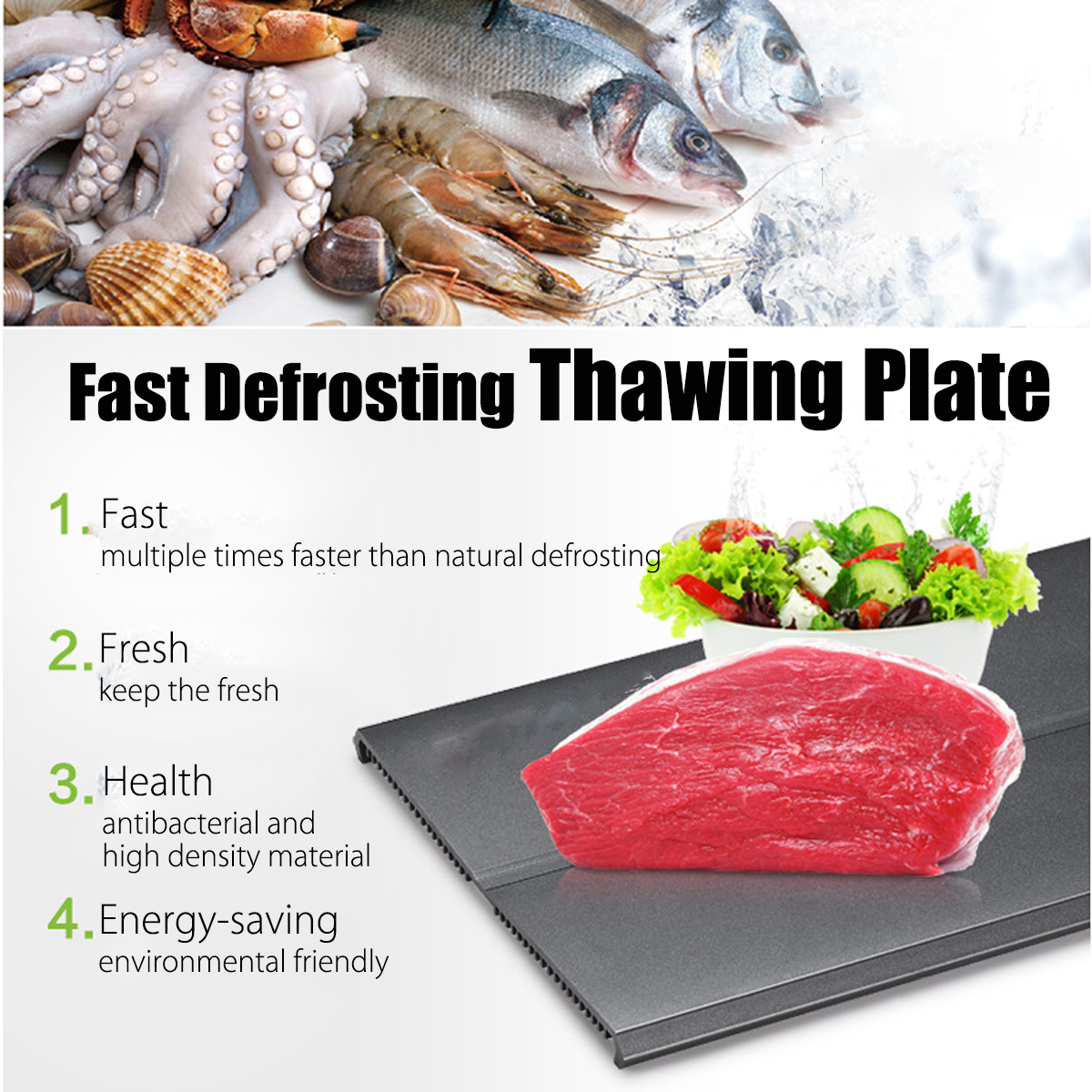 SURVEN Fast Defrosting Tray Plate 18 X Speed Quick Thawing Safe Way to Defrost Meat or Frozen Food Without Electricity