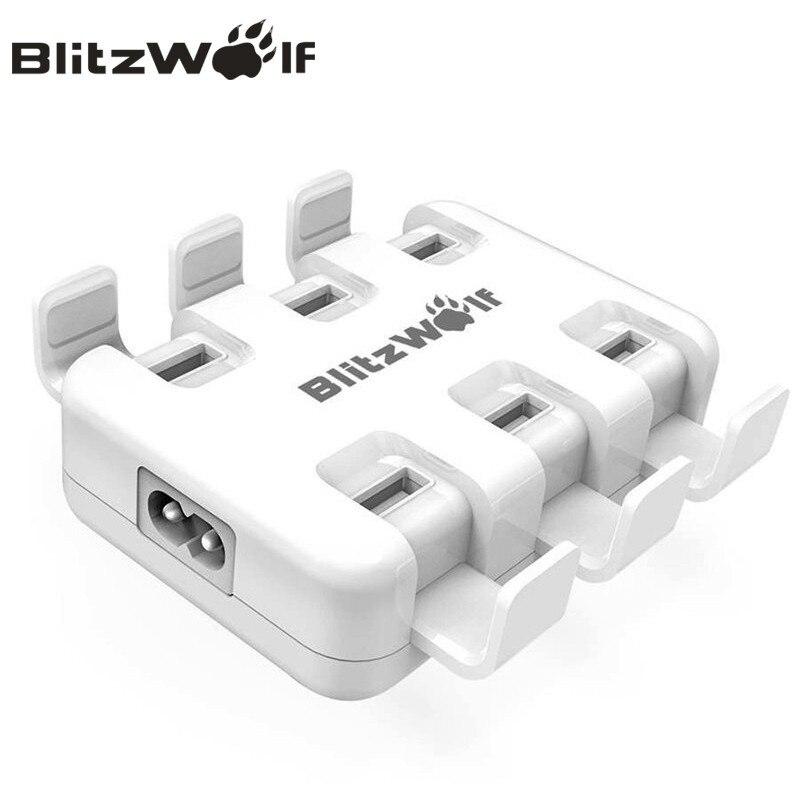 BlitzWolf USB Ladegerät Handy Ladegerät Adapter 6-Port Schnelle Desktop Ladegerät Für iPhone X 8 7 6 s 6 Plus Für Samsung Smartphone