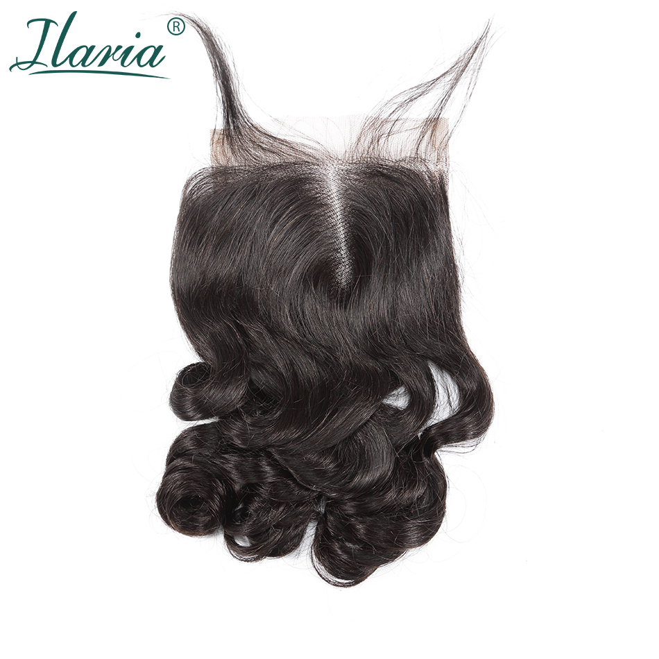ILARIA HAIR Brazilian Lace Closure With Baby Hair Loose Wave 4x4 100% Human Hair Top Closure Middle Part Free Part 3 Part