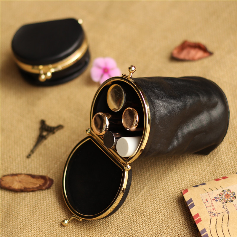 1 Piece Female Leather Round Barrel Lipstick Bag Small Portable Mini Cute Change Coin Key Card Package Storage Bag Wedding Gift