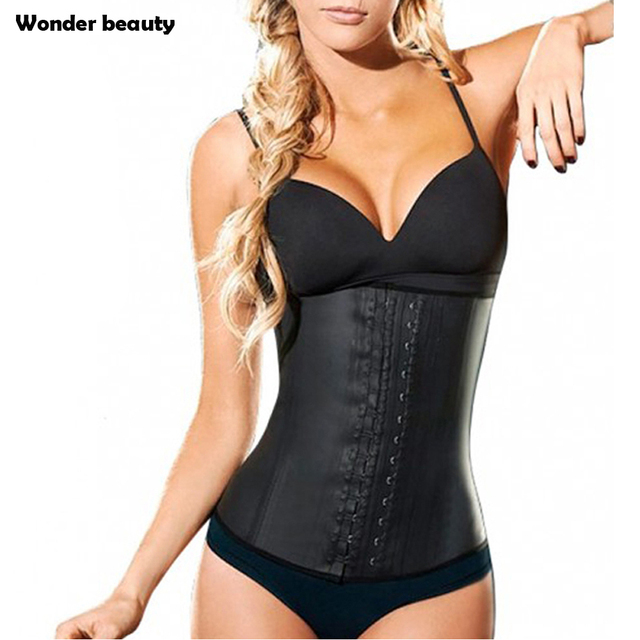 9a180a09e5 Latex Waist Trainer Corset Plus Size Steel Bone Workout Waist Cincher Women  Slim Body Shaper Girdles
