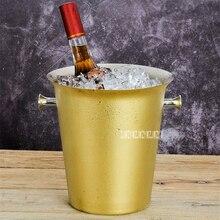 Европейский стиль из нержавеющей стали пивное ведро для льда 5л большой размер позолоченный ледяной винный бочонок барная посуда поставки винный кулер баррель