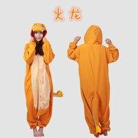Unisex adulta dragón de fuego Charmander Onesie Anime Pokemon Cosplay Costume ropa de dormir de invierno pijamas lindo Onesie pijamas