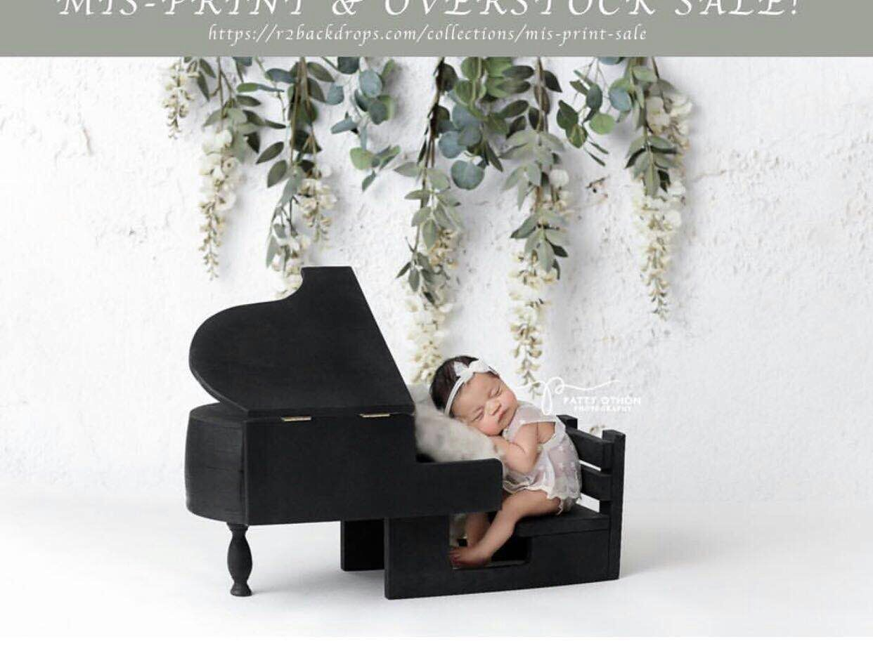 Newborn photography props retro literary style piano full moon baby party creative handmade custom studio photography