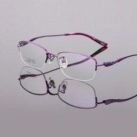 New pure titanium women eyeglasses frames ultra light business half rim reading glass Optical myopia brand eyewear frames female