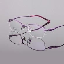 New pure titanium women eyeglasses frames ultra light business half rim reading glass Optical myopia brand eyewear female