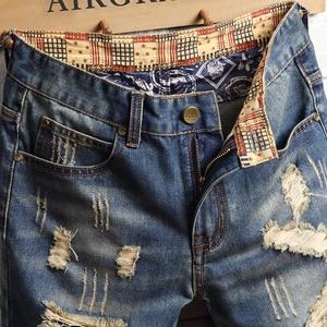 Image 3 - AIRGRACIAS Mens Ripped קצר ג ינס מותג בגדים ברמודה כותנה לנשימה מכנסי ג ינס קצרים זכר חדש אופנה גודל 28 40