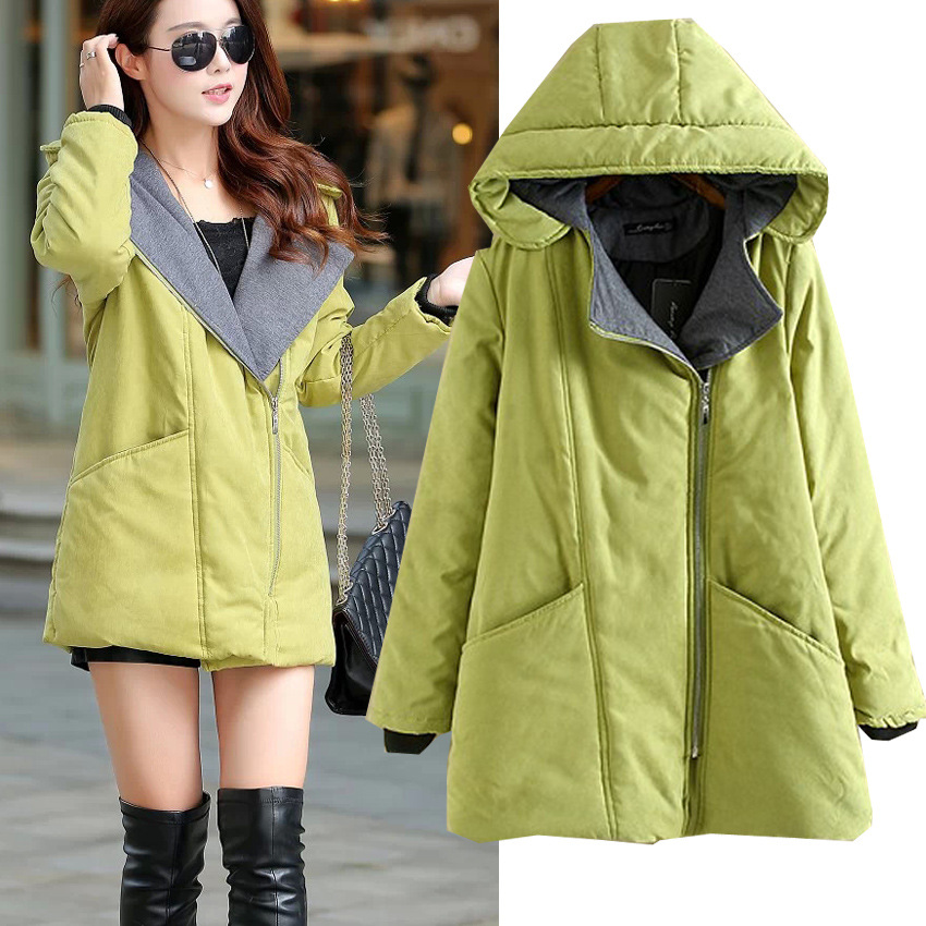 ФОТО Large size women's clothing 2016 new winter long thickening zipper hooded women slim cotton overcoat plus size 3XL,4XL