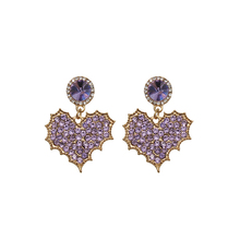 errings women silver  needle AAA cubic zirconia dream romantic love purple female earrings temperament wild