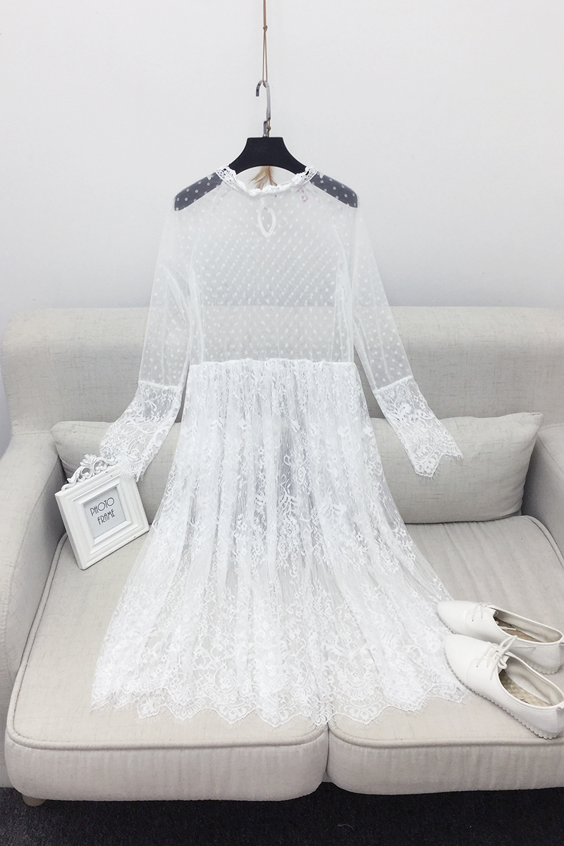 VGH 2019 Korean Perspective Lace Dress Version Of The New Spring Dresses Long Ride Within The Long Sleeve White Black