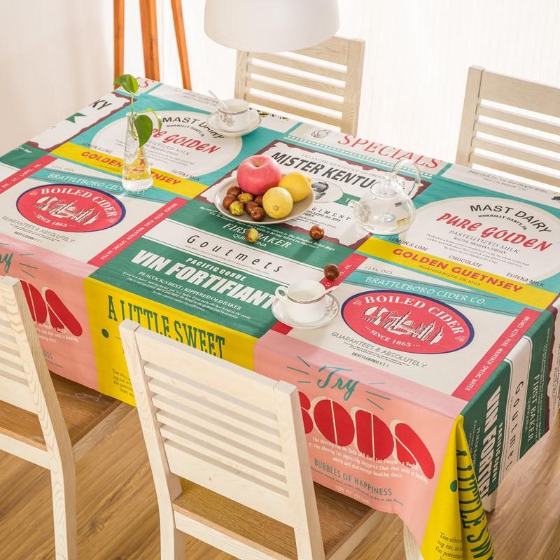 ヾ(^▽^)ノCotton Tablecloth Rectangular Dinner Table Cover Letter ...