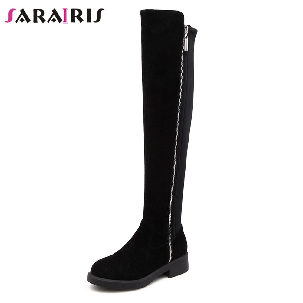 SaraIris Brand New women's Black Wide Med Heels 4cm Zip Shoes Woman Cow Suede Casual Top Quality Autumn Knee High Boots high quality filament tape 4cm wide