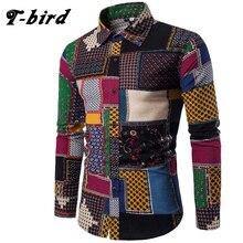 T-Bird бренд-Костюмы Мода 2017 г. рубашка мужской лен Сорочки выходные Slim Fit Turn-Пух Для мужчин с длинным рукавом Для мужчин S гавайская рубашка больших размеров
