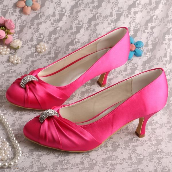 (20 Colors)New Arrival Medium Heel Beautiful Wedding Shoes Hot Pink Pumps 55fe2dcef086