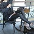 Embarazadas Polainas Para El Otoño Flaco Delgado Elástico de LA PU de Imitación de Cuero Lápiz Pantalones de Moda PU Pantalones de Cuero Mujeres Gravida Embarazo