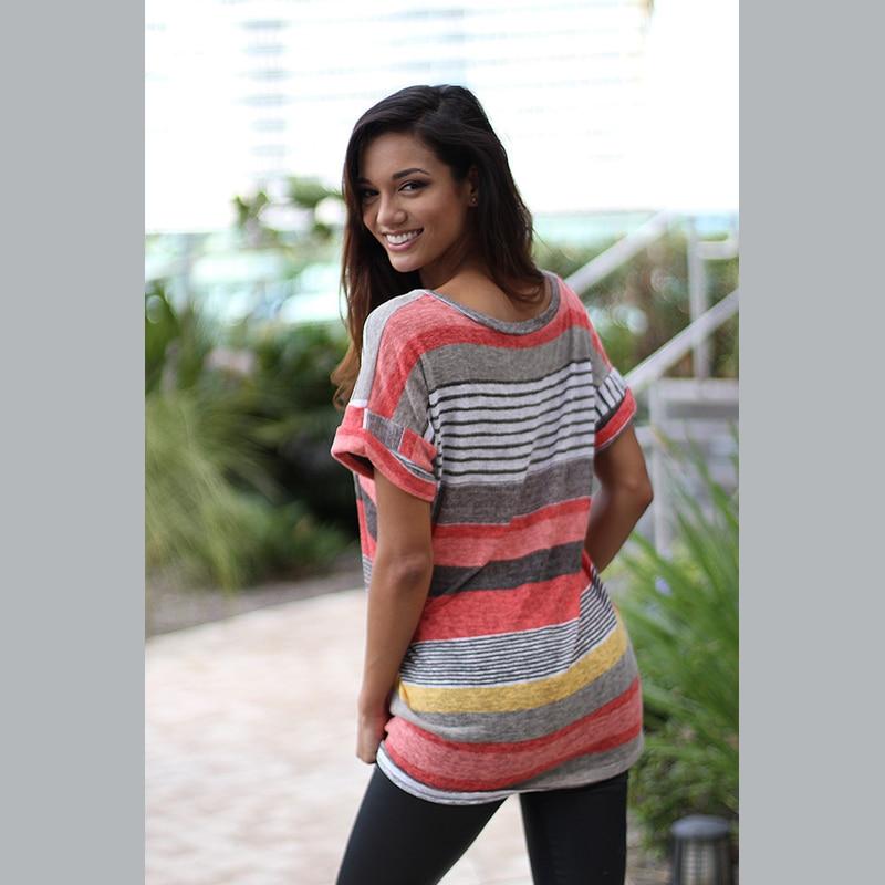 Fashion Women 39 s T shirts 2019 S Stripes Splice Sexy 5XL T Shirts Harajuku Geek Streetwear Summer Spring in T Shirts from Women 39 s Clothing