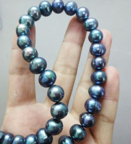 Hitches Sales Free Shipping ******* Stuning 9-10mm Tahitian Black Pearl Necklace 17 inches