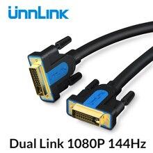 Unnlink DVI câble DVI D 24 + 1 UHD 4K double canal de liaison 1080P 144 plaqué or 1.5M 3M 5M 8M 15M pour ordinateur TV moniteur projecteur