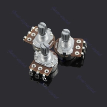 A250k Potentiometer Splined Pot Electric Guitar Bass Effect Amp Tone Volume 10mm Shaft Parts 3pcs/set
