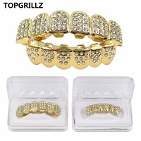 YUHUAI Rose Gold Plated ICED OUT CZ Teeth GRILLZ Top Bottom Tooth Caps Hip Hop Bling