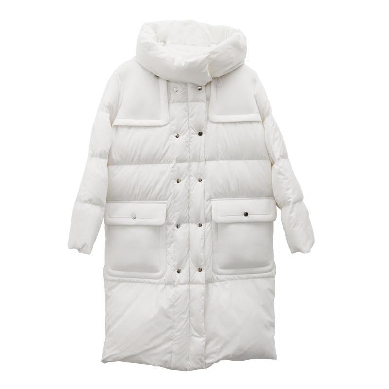 Originale aigyptos Survêtement Manteaux blanc Patchwork Chaud 90 Noir 2016 Blanc Longs Vestes Frais Épais Lâche Hiver De Canard Duvet Femmes Conception bc IHIrqwS