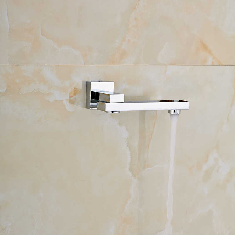 Chrome Polished Wall Mount Bathroom TUb Faucet Swivel Spout Mixer Tap Solid Brass