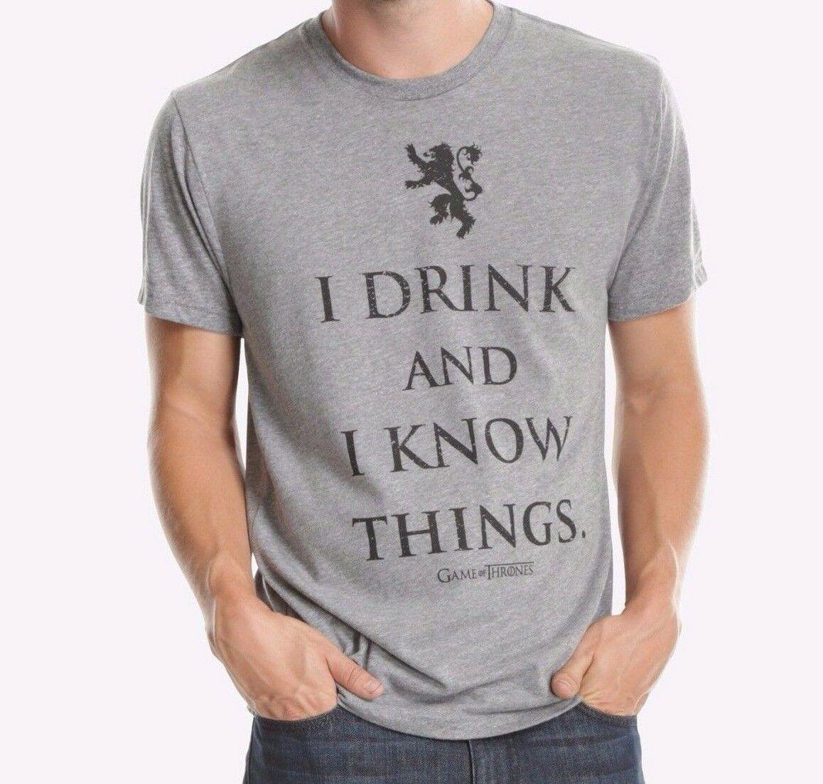 Game Of Thrones TYRION LANNISTER je bois et je sais des choses T-Shirt NWT authentique été hommes mode T-Shirt 2019 mode T-Shirt