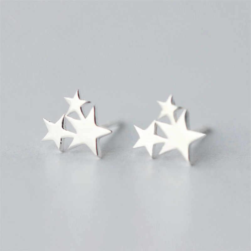Boucles d'oreilles trois étoiles en argent Sterling 100% 925 pour femmes prévenir les allergies Brincos pendientes mujer moda 2018 Brincos A123