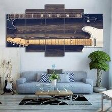 Картина стены книги по искусству модульный плакат 5 панель гитары музыка Винтаж рамки HD печатных Современный Холст Гостиная фотографии