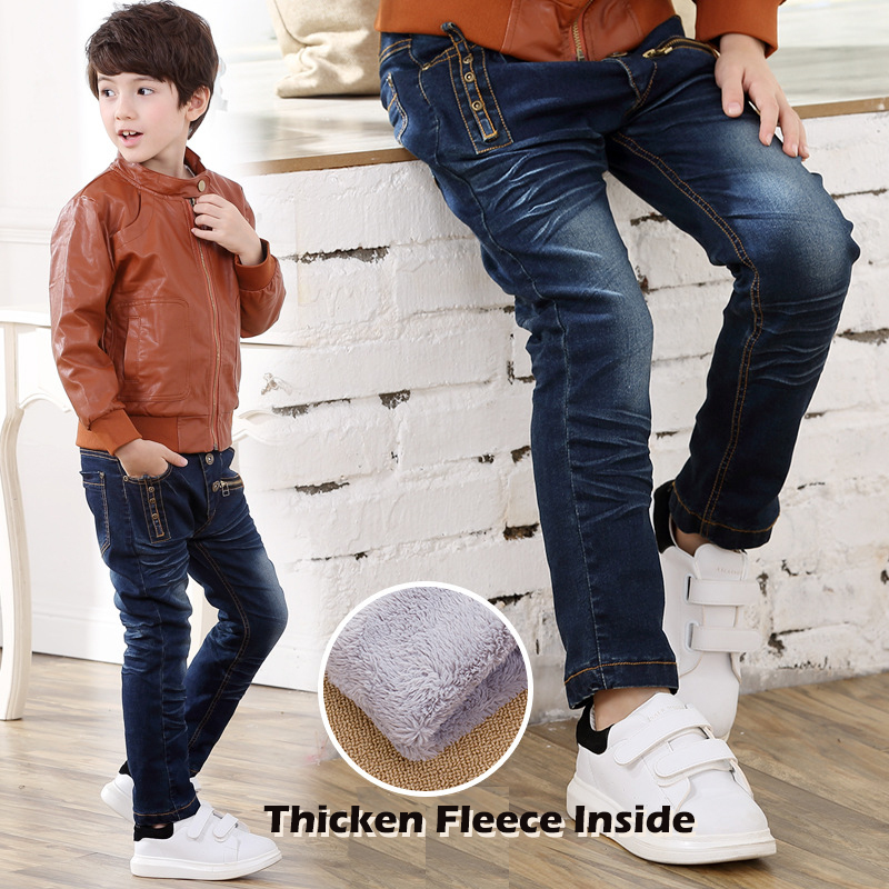 3-8Y Thicken Jeans for Boy Elastic Waist Straight Jeans Plus Velvet Warm Denim Pants For Boys Winter Kids Pants High Quality fashion men jeans flag of the united kingdom drawing print denim jeans straight rock jeans pants plus size n8098