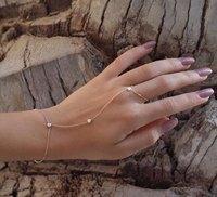 100 шт. Мода циркония кристалл звезды ведомого Браслет цепочка для женщин палец рука браслет браслеты со сбруей Регулируемый Золотой Pulseiras