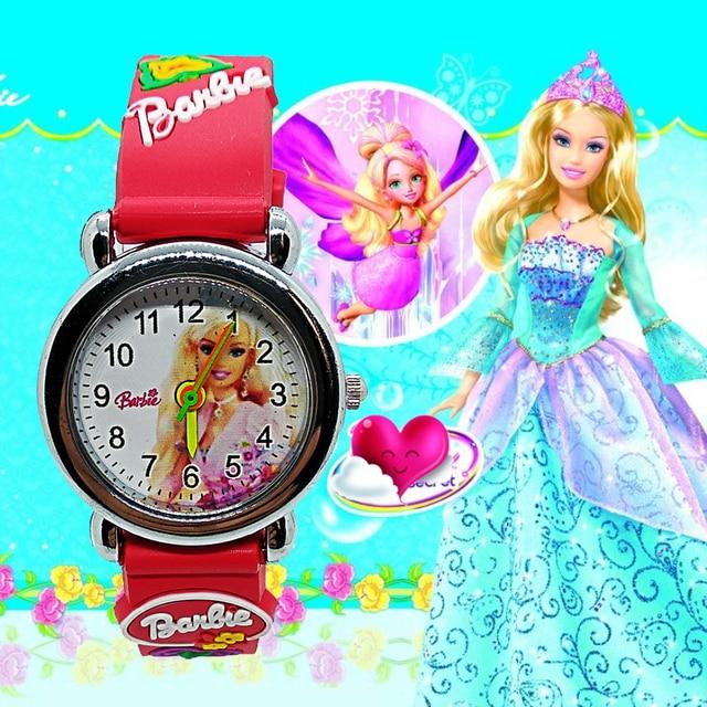 3D Cartoon Sexy Barbi Princess doll Children Watch for Kid Girls Boys Students C